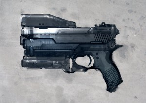 Speed_painted_sci_fi_pistol_by_torvenius